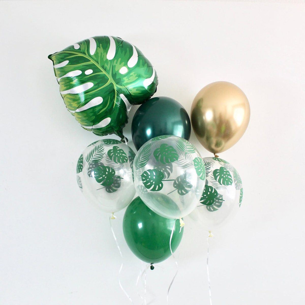 Palm Leaf Green Forest Chrome Gold Latex Balloons Wild One Party Jungle Party Safari Party Tropical Party Palm Leaf Balloons Palm Decor