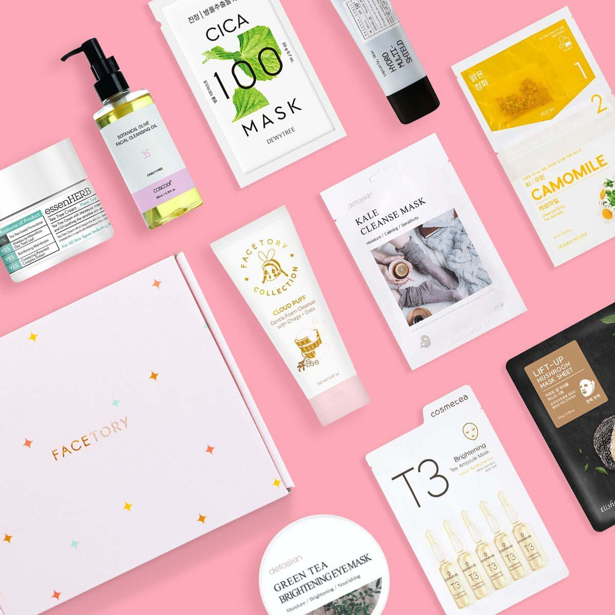 Facetory LUX PLUS SUBSCRIPTION 5-6 Skincare Products + 5-6 Sheet Masks