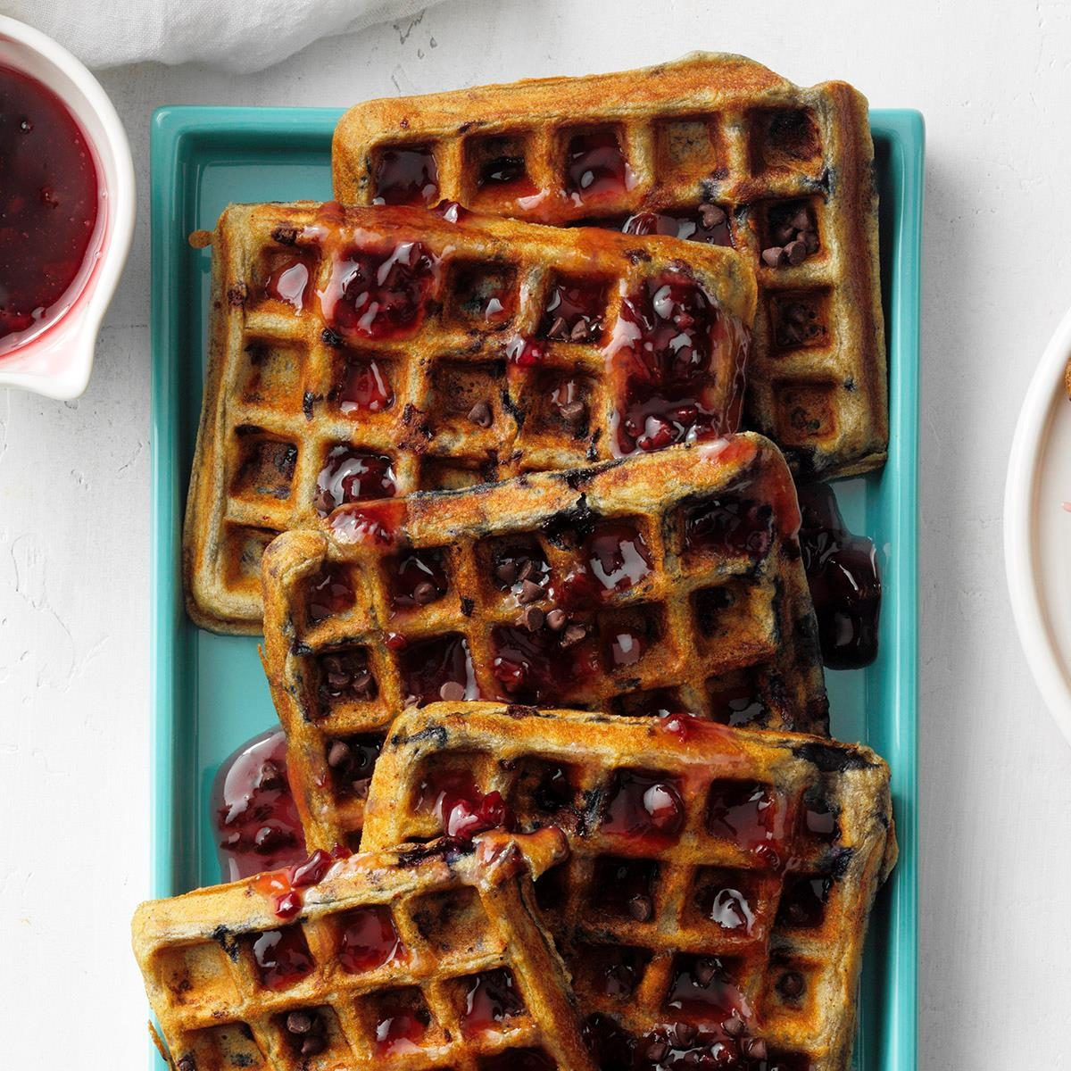 Cherry Chip Waffles with Cherry Syrup