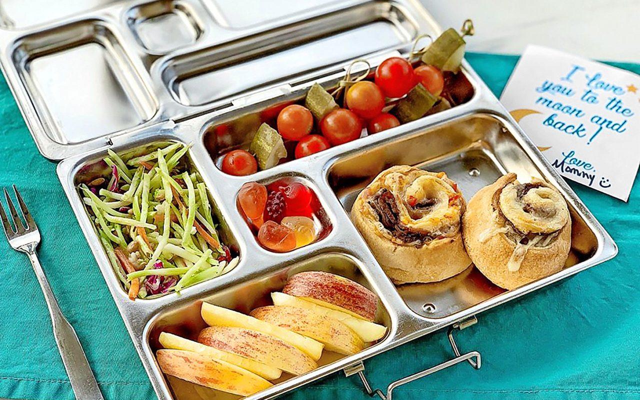 Cheesy pinwheels bento box lunch