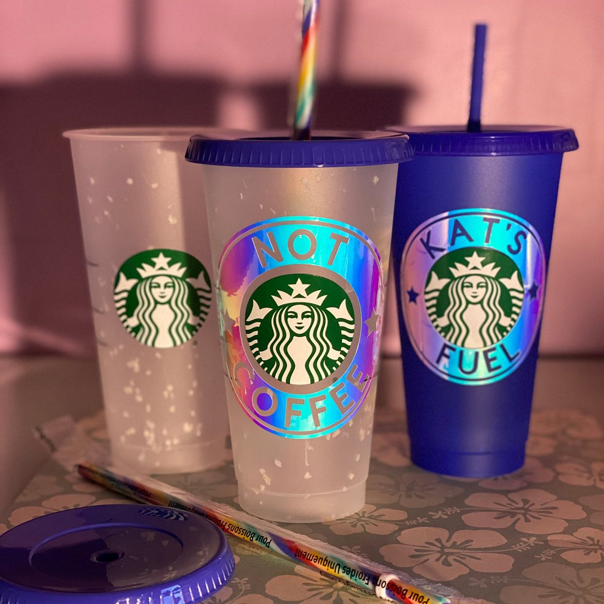 Limited Edition Confetti Color Changing Starbucks Cup with Holographic Circle