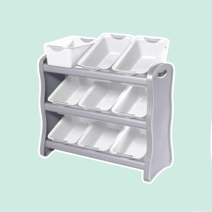 Sterilite 9 Bin Storage Rack with Handles Gray