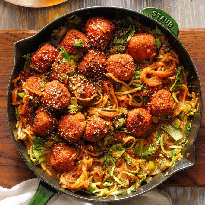 Spicy Plum Pork Meatballs With Bok Choy Exps Rc20 250860 B07 14 8b 12