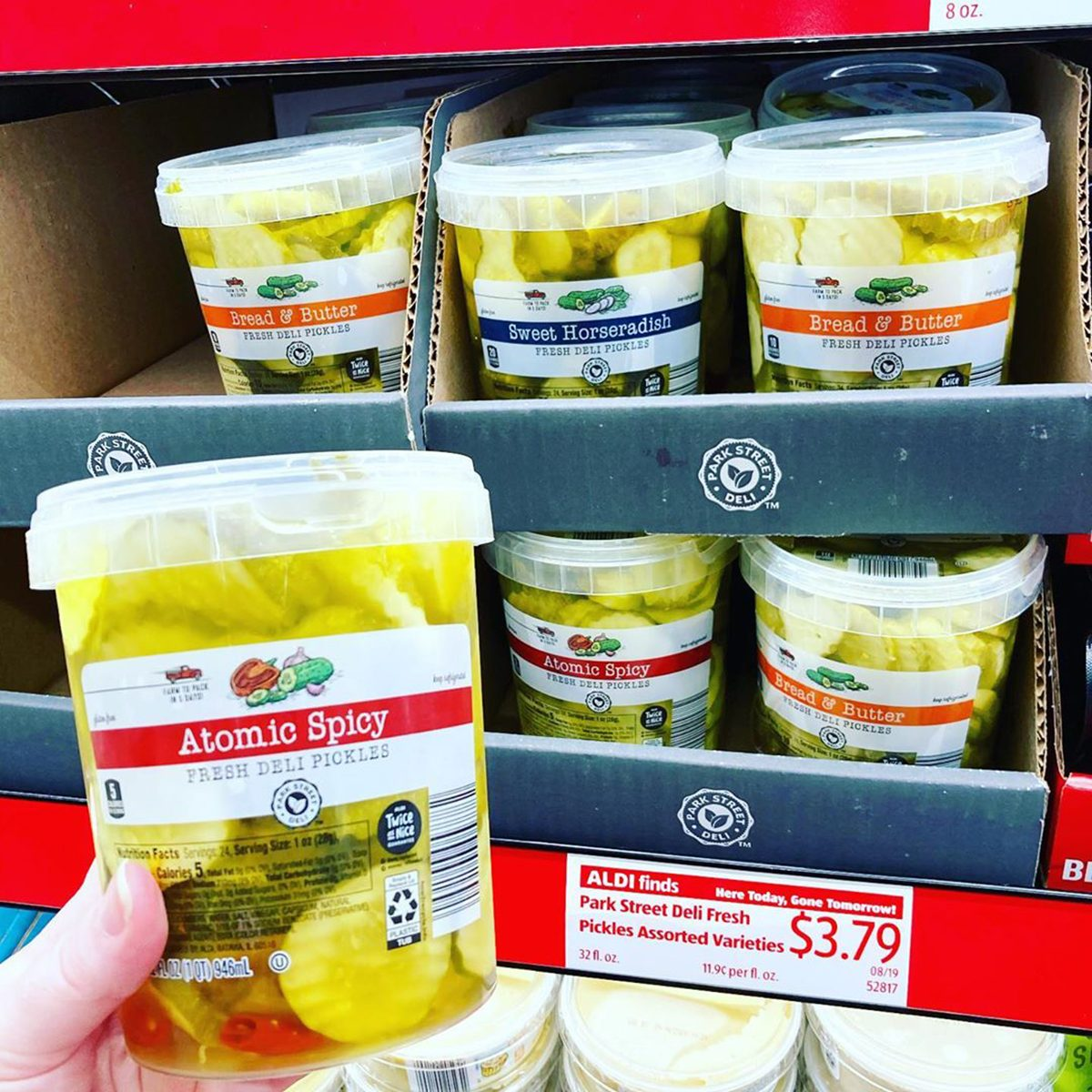 Aldi Park Street pickles in Atomic Spicy, Sweet Horseradish, and Bread & Butter
