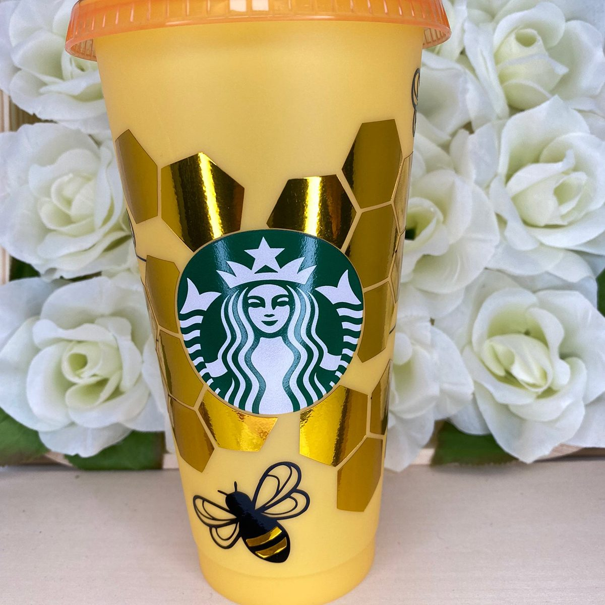 Color Changing Starbucks cup | starbucks cup with bees | custom starbucks cup | custom Starbucks cup | bee design | Yellow | honey drip