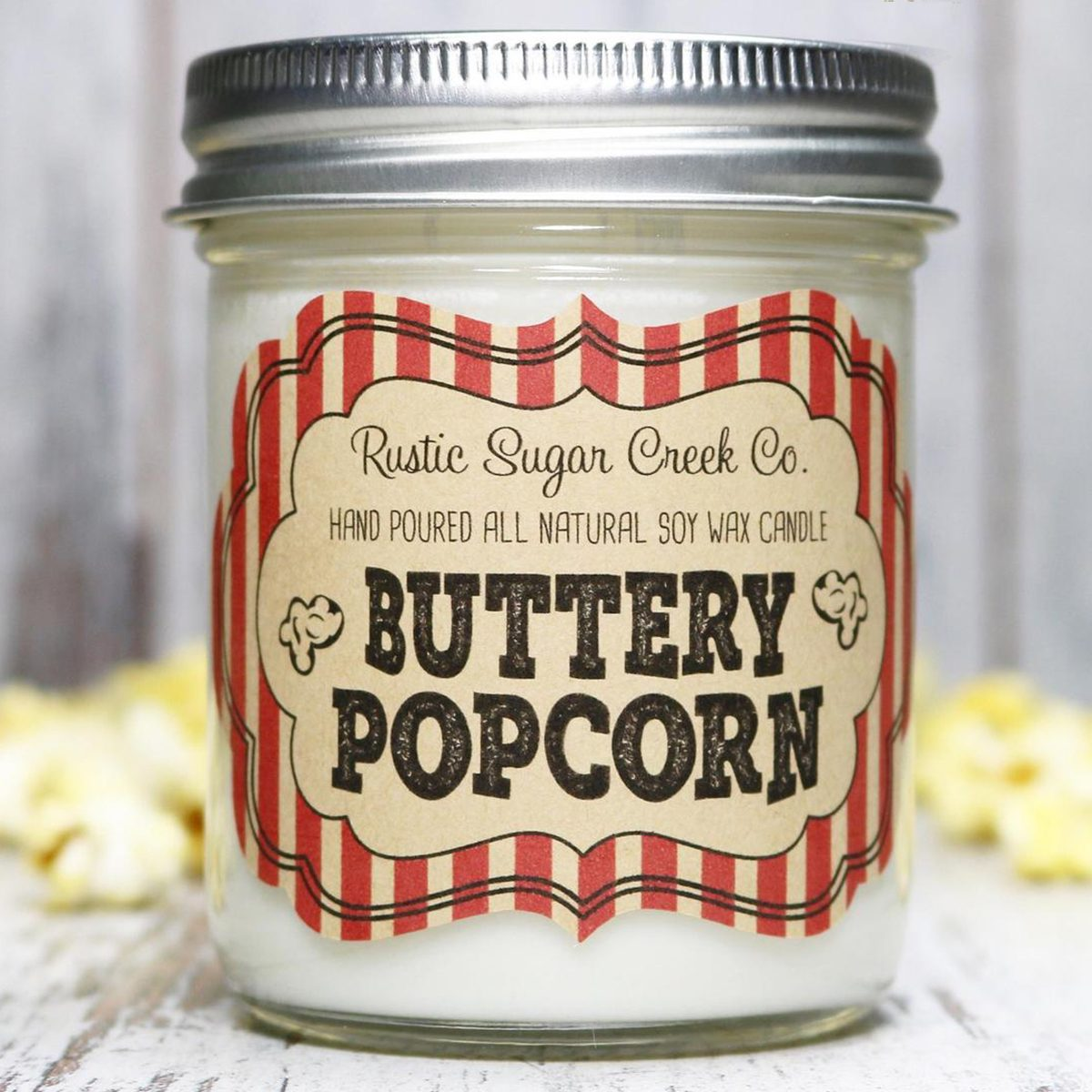 Buttery Popcorn Scented Soy Wax Candle, Popcorn Candle, Mason Jar Candle, Candle Gift, Movie Night Popcorn Candle