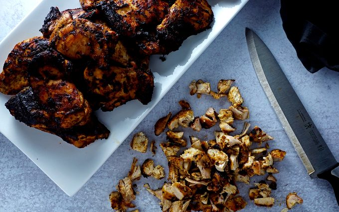 cooked copycat chipotle chicken overhead view