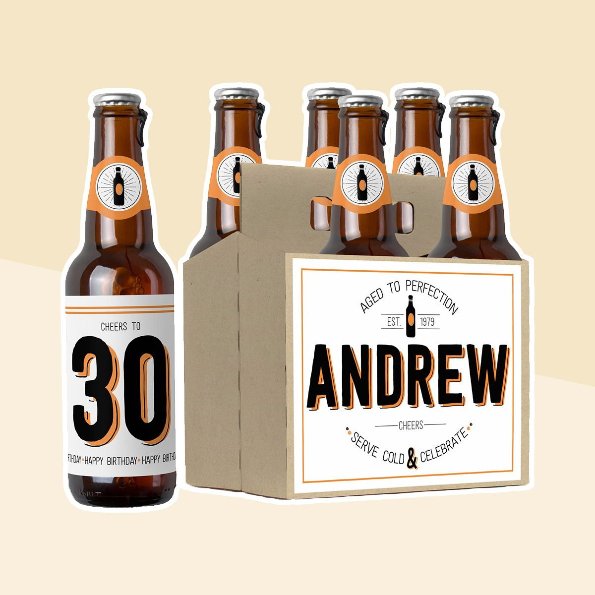 Happy Birthday Beer Labels, Birthday Gifts Under 20, 30th Birthday Beer, Personalized Birthday Labels, Birthday Gift for Him, Birthday Card
