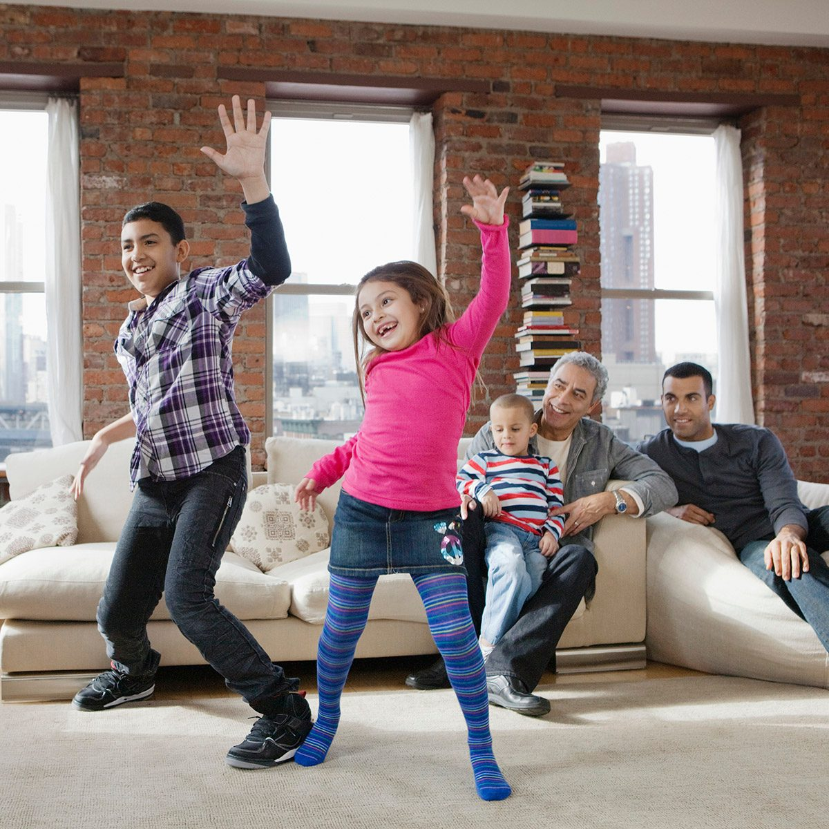 Children playing dance video game