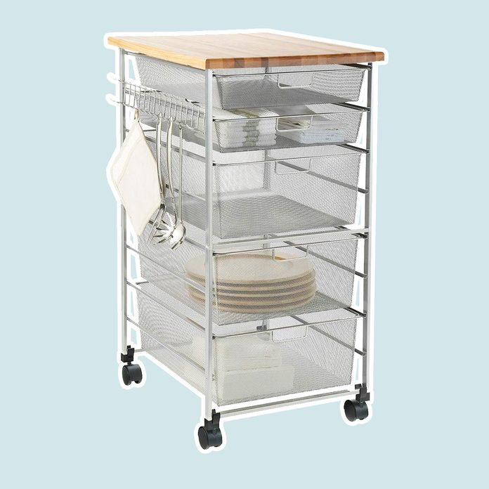 pantry storage Elfa Platinum Mesh Kitchen Cart
