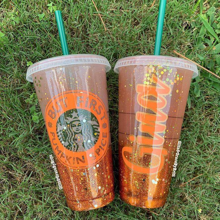 Personalized Starbucks cup | Starbucks venti cold cup | Custom Starbucks cold cup | Glittered Starbucks cold cup | Pumpkin spice Starbucks