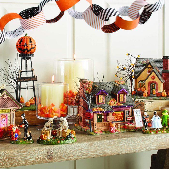 Department 56 Snow Village Halloween Trick or Treat Lane Party House Lit Building, 6.1 Inch, Multicolor