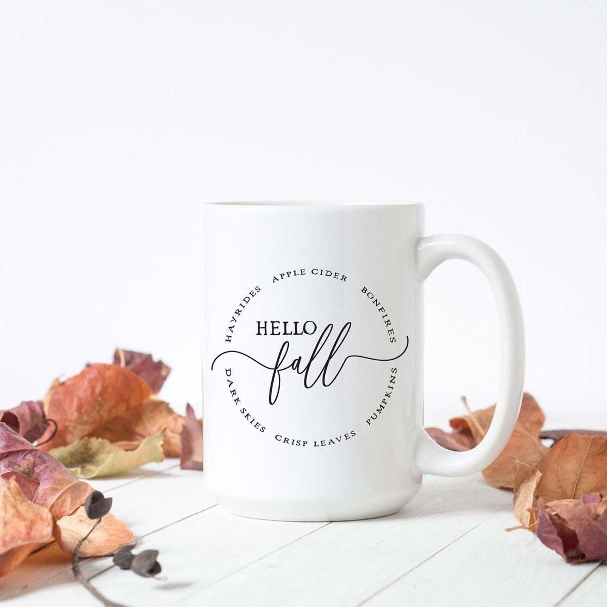 Hello Fall Mug, Autumn Mugs, Fall Bucket List, Best Friend Gift, Gift For Her, Coffee Cup, Coffee Bar Decor