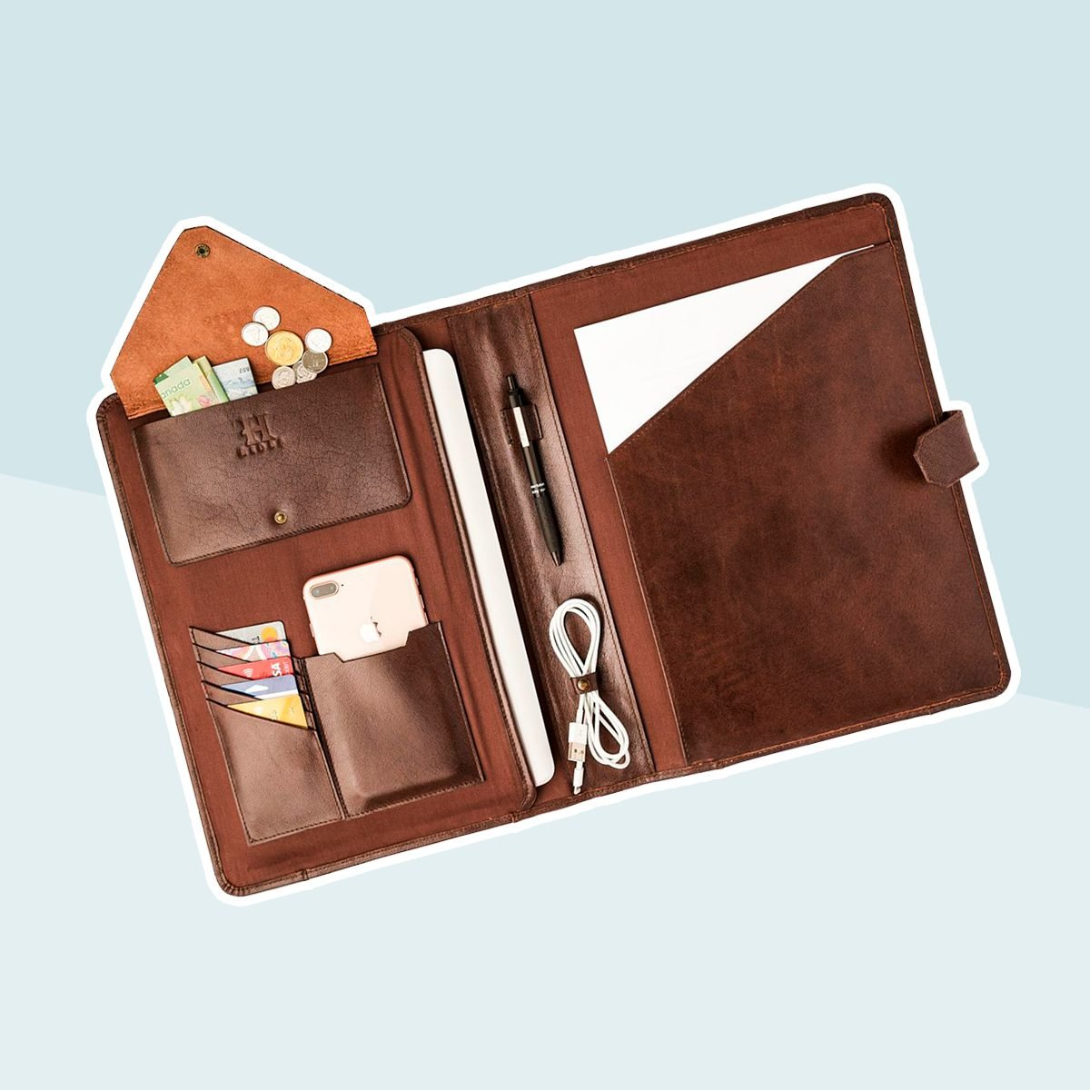 Leather Portfolio For Men, Personalized Organizer Business Laptop Holder, Leather Anniversary Gifts for Him, A4 Size Document Holder