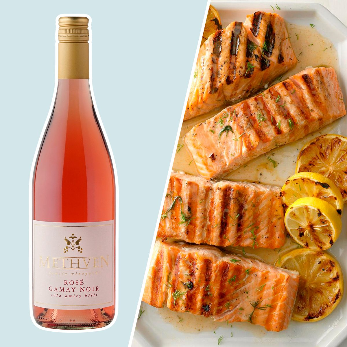 Methven Family 2019 GAMAY ROSE and grilled salmon