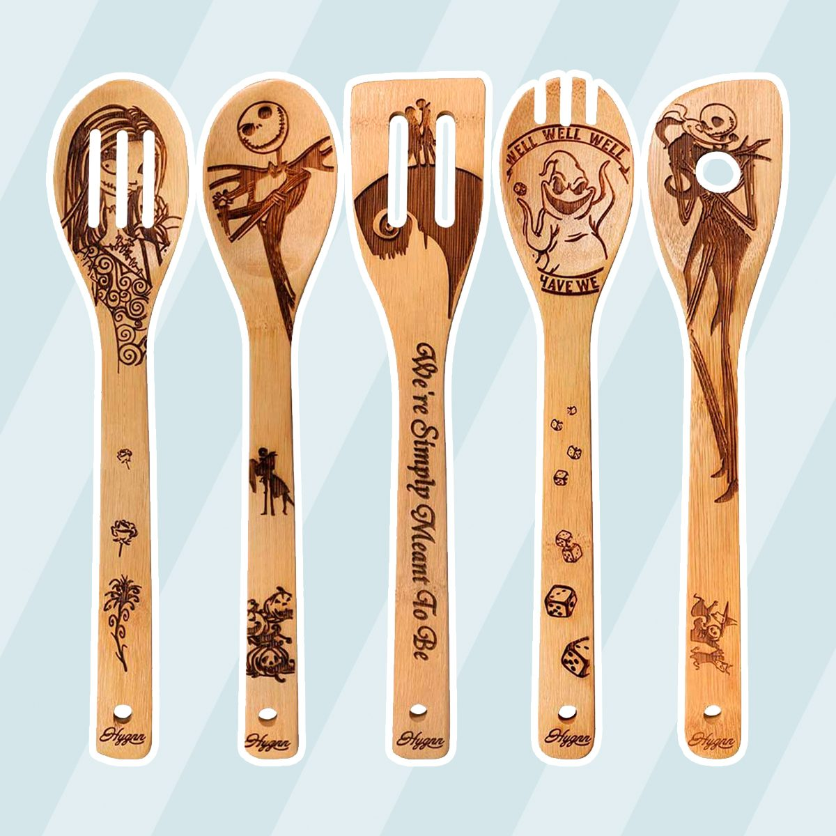 Halloween Gift Idea Utensil Burned Wooden Spoons Set House Warming Wedding Present Slotted Spoon 5 Piece …