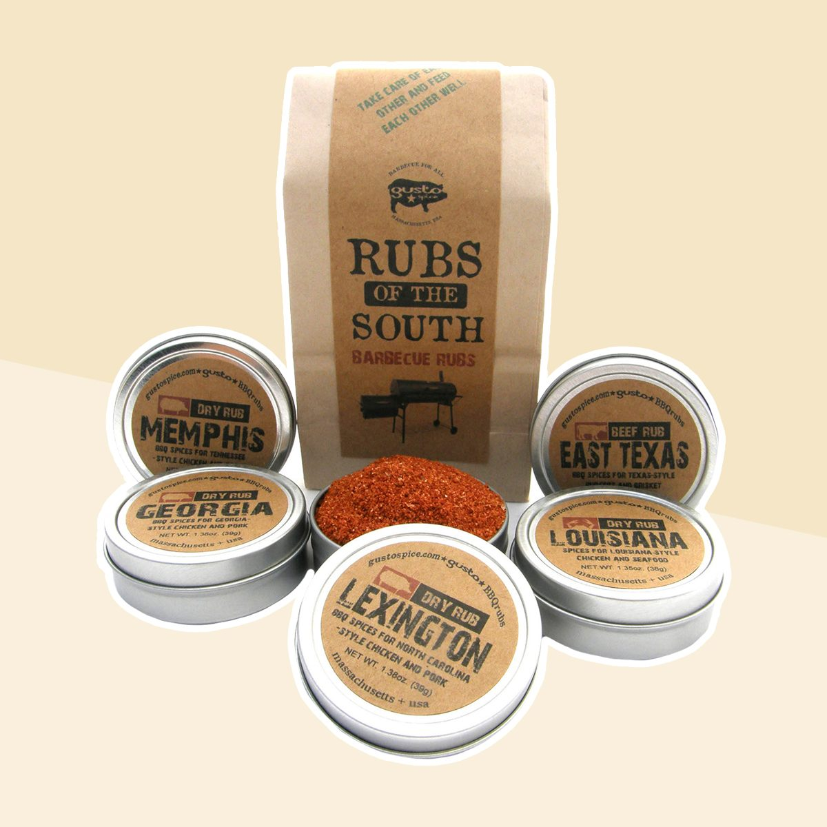 Gusto's RUBS of the SOUTH - Excellent Barbecue Sampler Gift Set - BBQ and Grilling Spices and Rubs