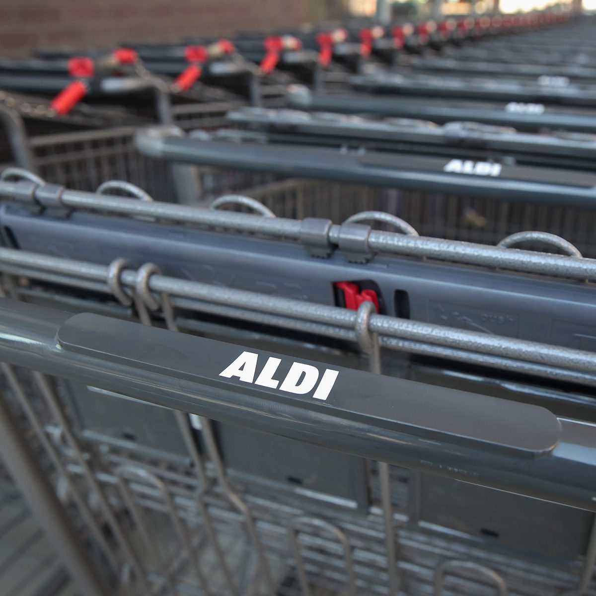 CHICAGO, IL - JUNE 12: Shopping carts sit outside an Aldi grocery store on June 12, 2017 in Chicago, Illinois. Aldi has announced plans to open 900 new stores in the United States in the next five years. The $3.4 billion capital investment would create 25,000 jobs and make the grocery chain the third largest in the nation behind Wal-Mart and Kroger. (Photo by Scott Olson/Getty Images)