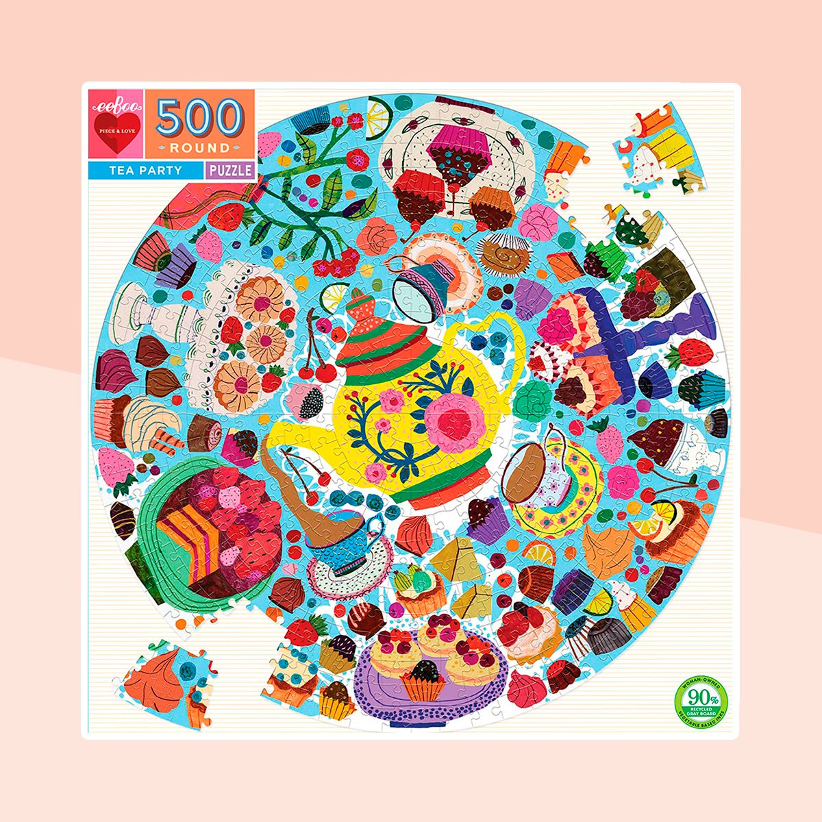 Tea Party Round Jigsaw Puzzle for Adults, 500 Pieces