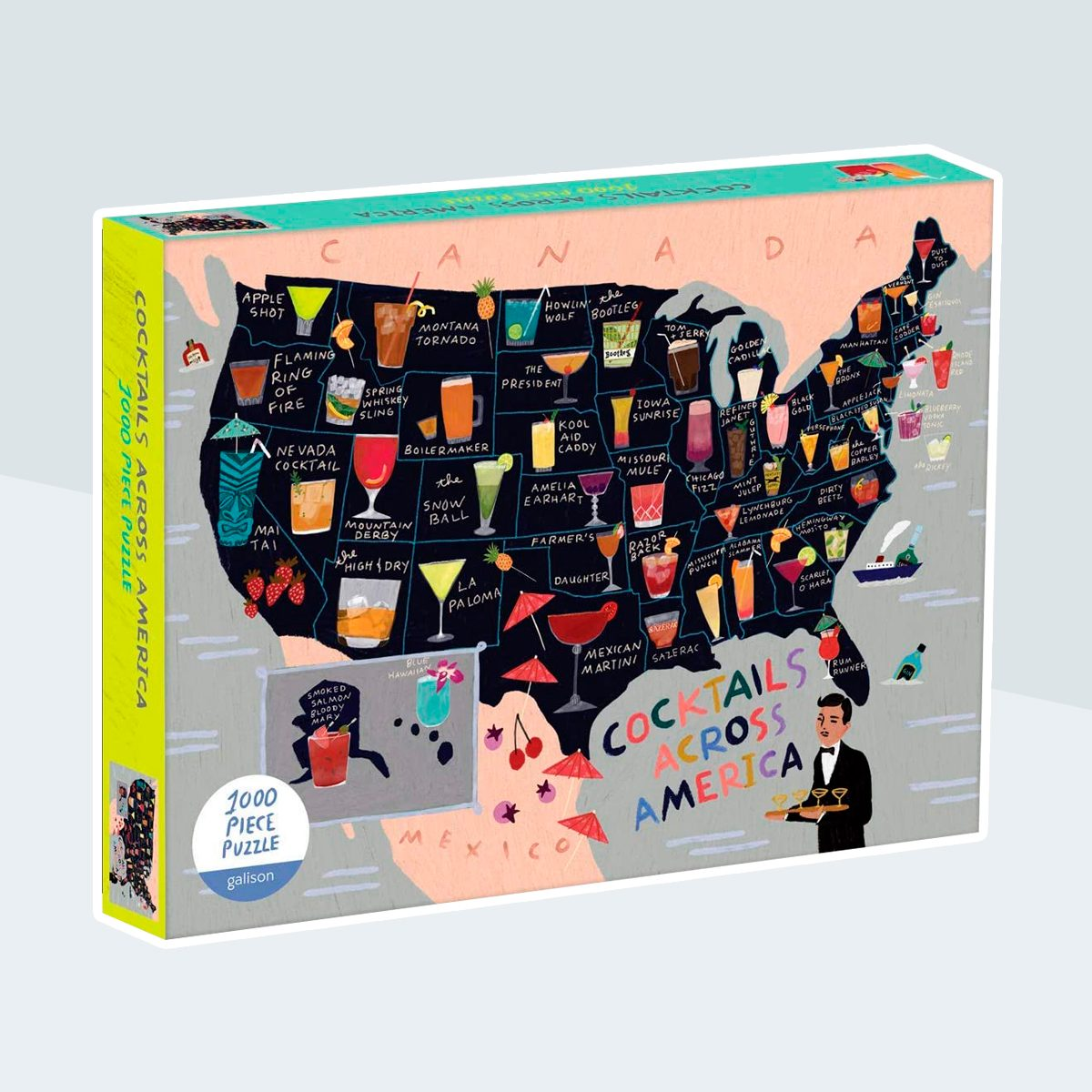 Galison Anne Bentley Jigsaw Puzzle, Cocktail Map of The USA, 1000+ Pieces – Vibrant Illustration of a US Map with Various Cocktail Listed for Each State, Thick, Sturdy Pieces, Perfect for Family Fun
