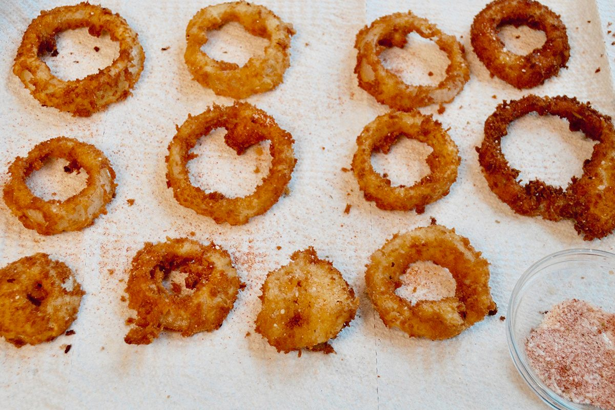 Burger King's Onion Rings after frying