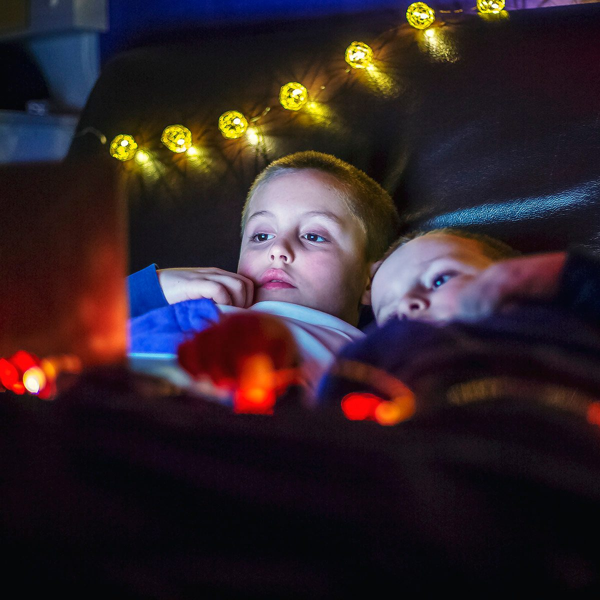 Two boys, brothers, watch movie on a laptop