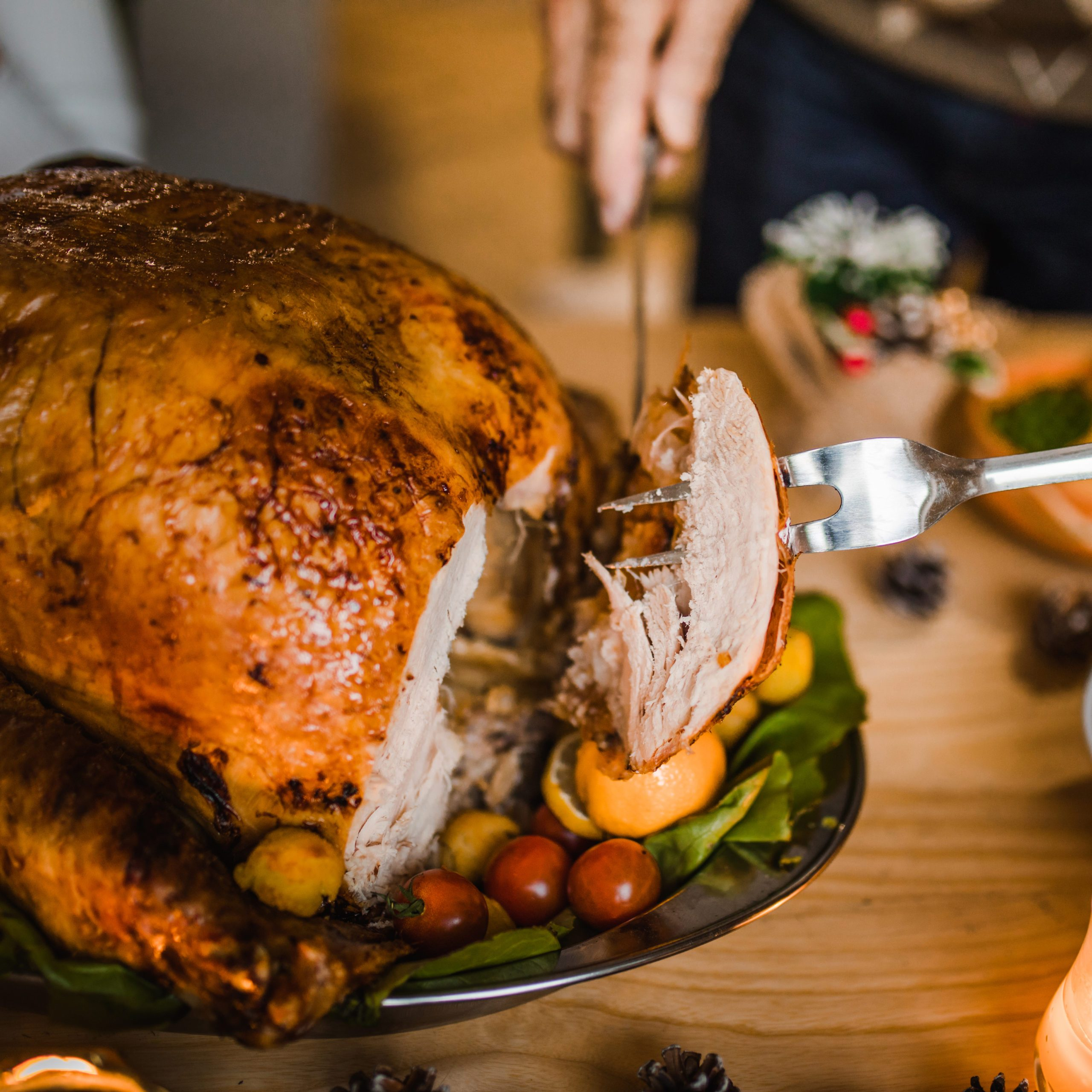 Close up of unrecognizable person carving white meat during dinner at dining table.