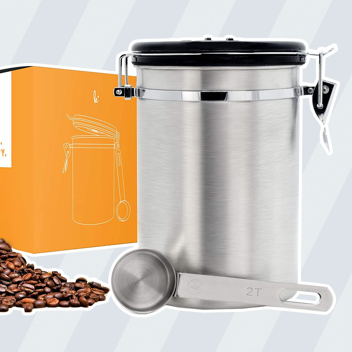 Coffee Canister (Large) Airtight Seal Set with Scoop