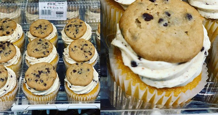 Cream Cupcakes Topped with a Whole Chocolate Chip Cookie