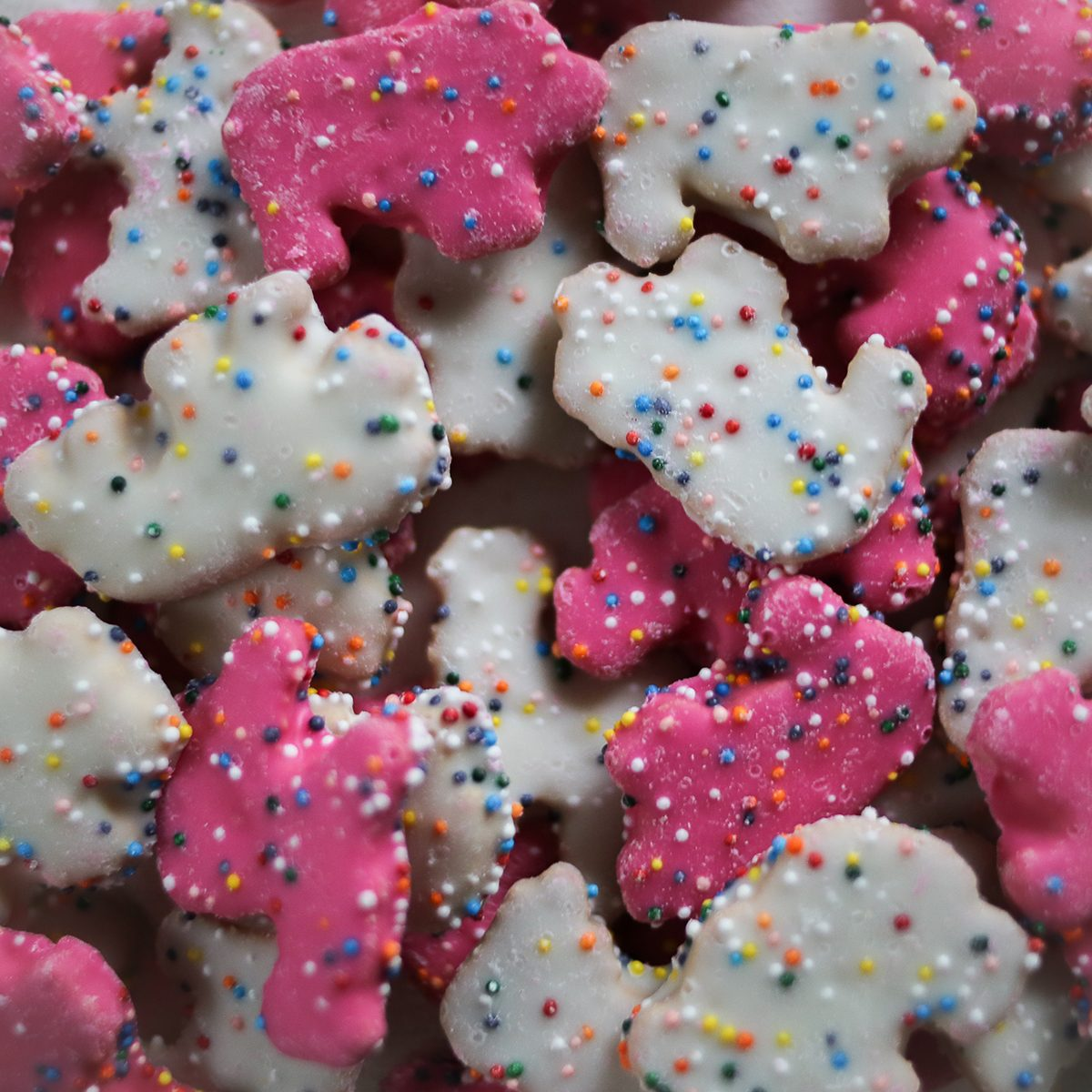 Frosted Circus Animal Cookie Pink and White Sprinkled Animal Crackers