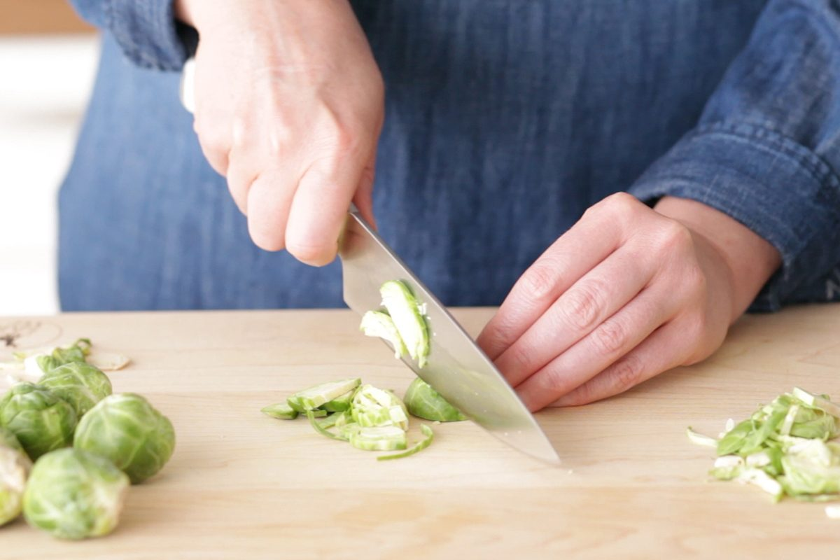 How to cook brussel sprouts: chop