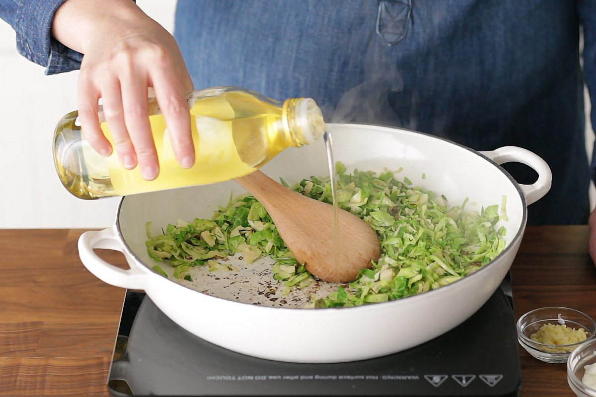 How to cook brussel sprouts: add in oil