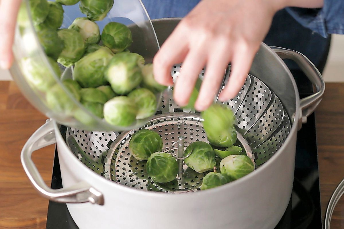 How to cook brussel sprouts: place in steamer