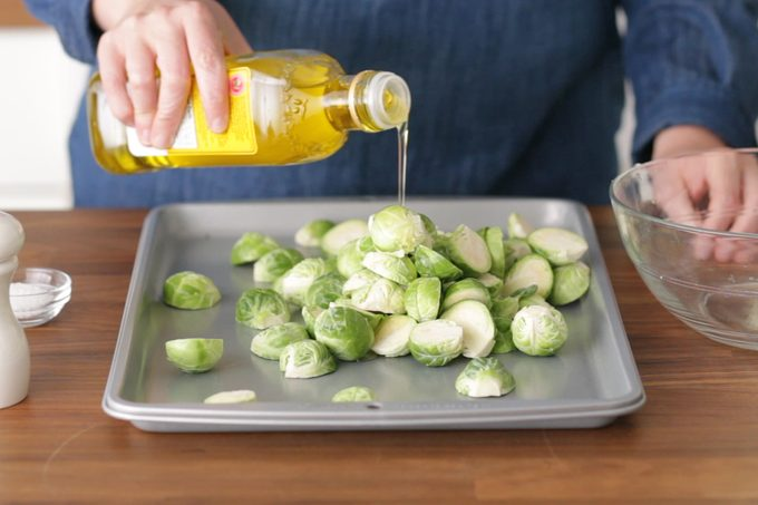 How to cook brussel sprouts: oil