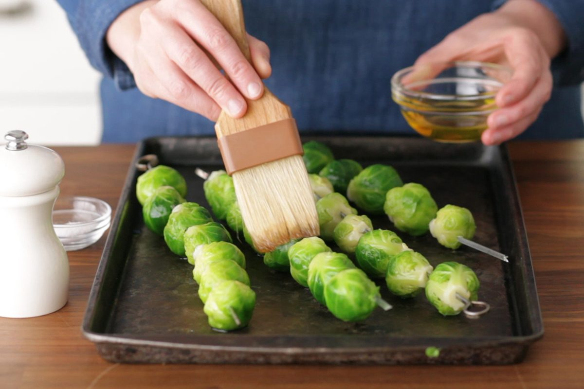 How to cook brussel sprouts: skewer