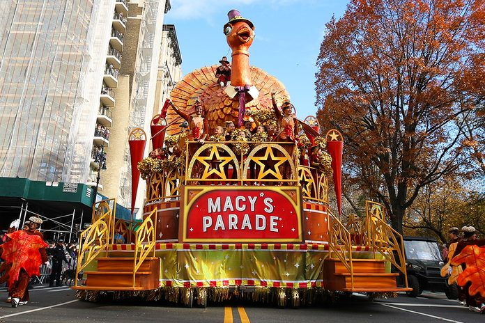 NEW YORK, NEW YORK - NOVEMBER 28: Macy's Parade float pass through crowds at the 93rd Annual Macy's Thanksgiving Day Parade on November 28, 2019 in New York City, United States. (Photo by Tayfun Coskun/Anadolu Agency via Getty Images)