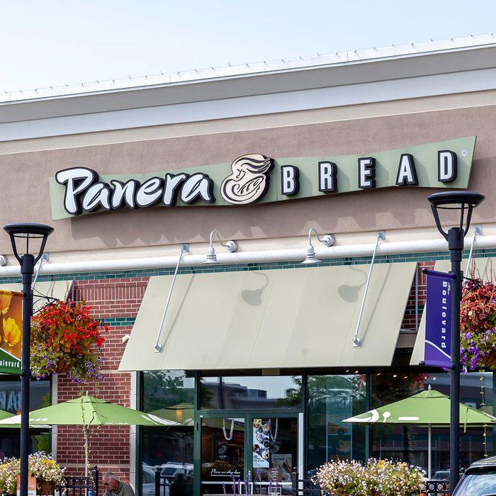 Buffalo, New York, USA- September 2, 2019: A Panera Bread restaurant in Buffalo, New York, USA. Panera Bread Company is an American chain store of bakery-café fast casual restaurants.
