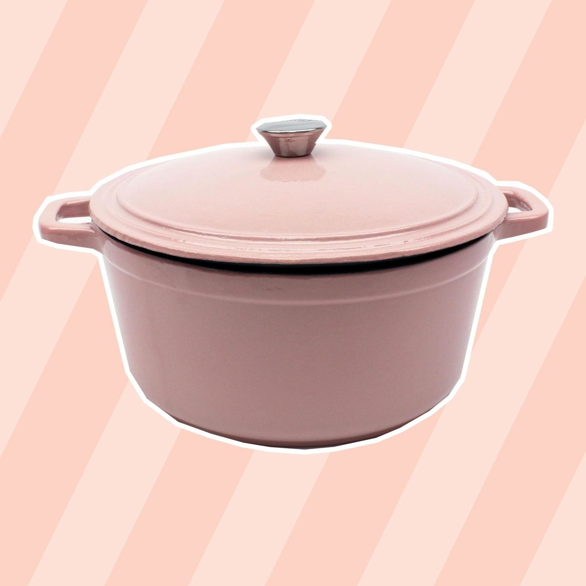Neo 7 qt. Round Cast Iron Casserole Dish in Pink with Lid