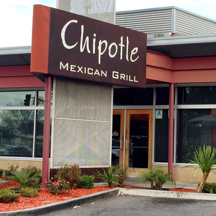 Retail sign. Chipotle Mexican Grill Restaurant in Lakewood, California.