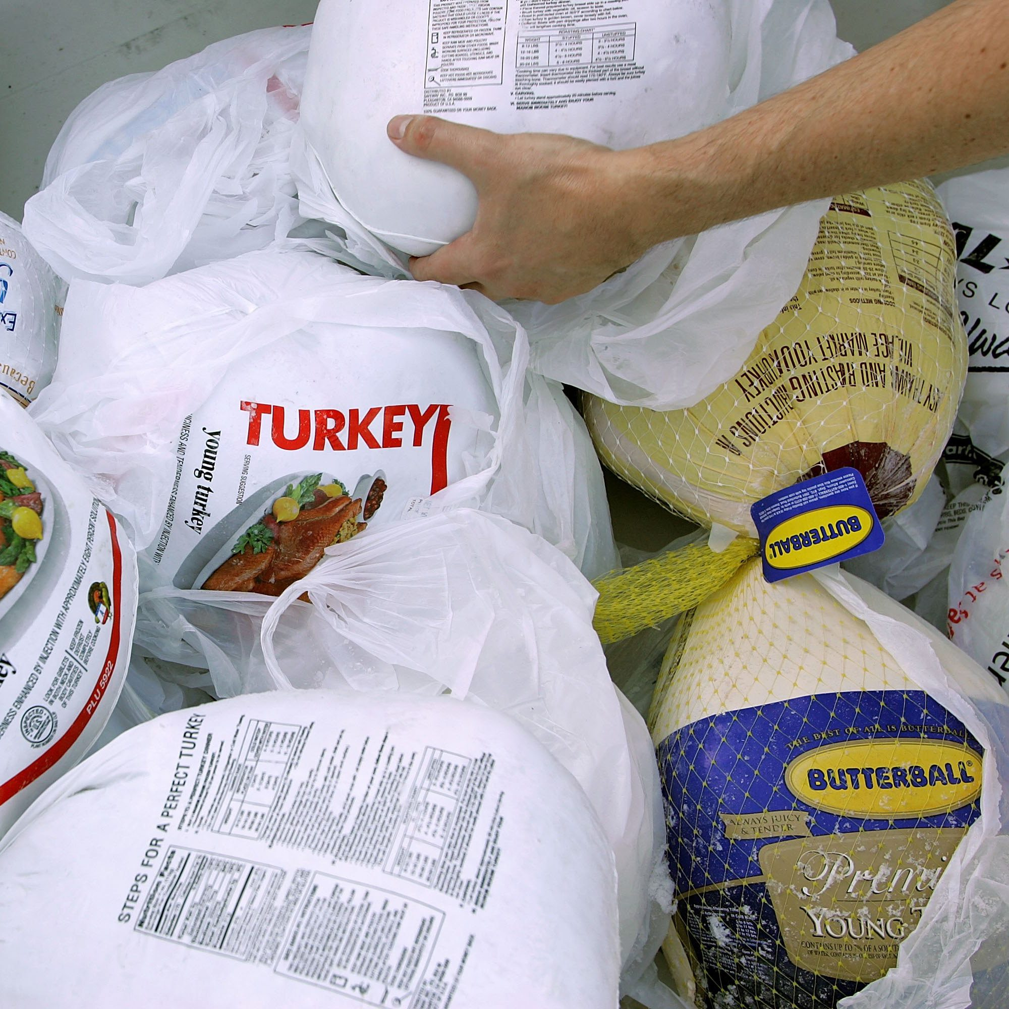 SAN FRANCISCO - NOVEMBER 21: A volunteer prepares a box of turkeys to be given out during the 2006 holiday turkey distribution at the San Francisco Food Bank November 21, 2006 in San Francisco, California. Despite donations being down at most food banks across the country, the San Francisco Food Bank will distribute over 1,500 turkeys to churches and community centers over the holiday season. (Photo by Justin Sullivan/Getty Images)
