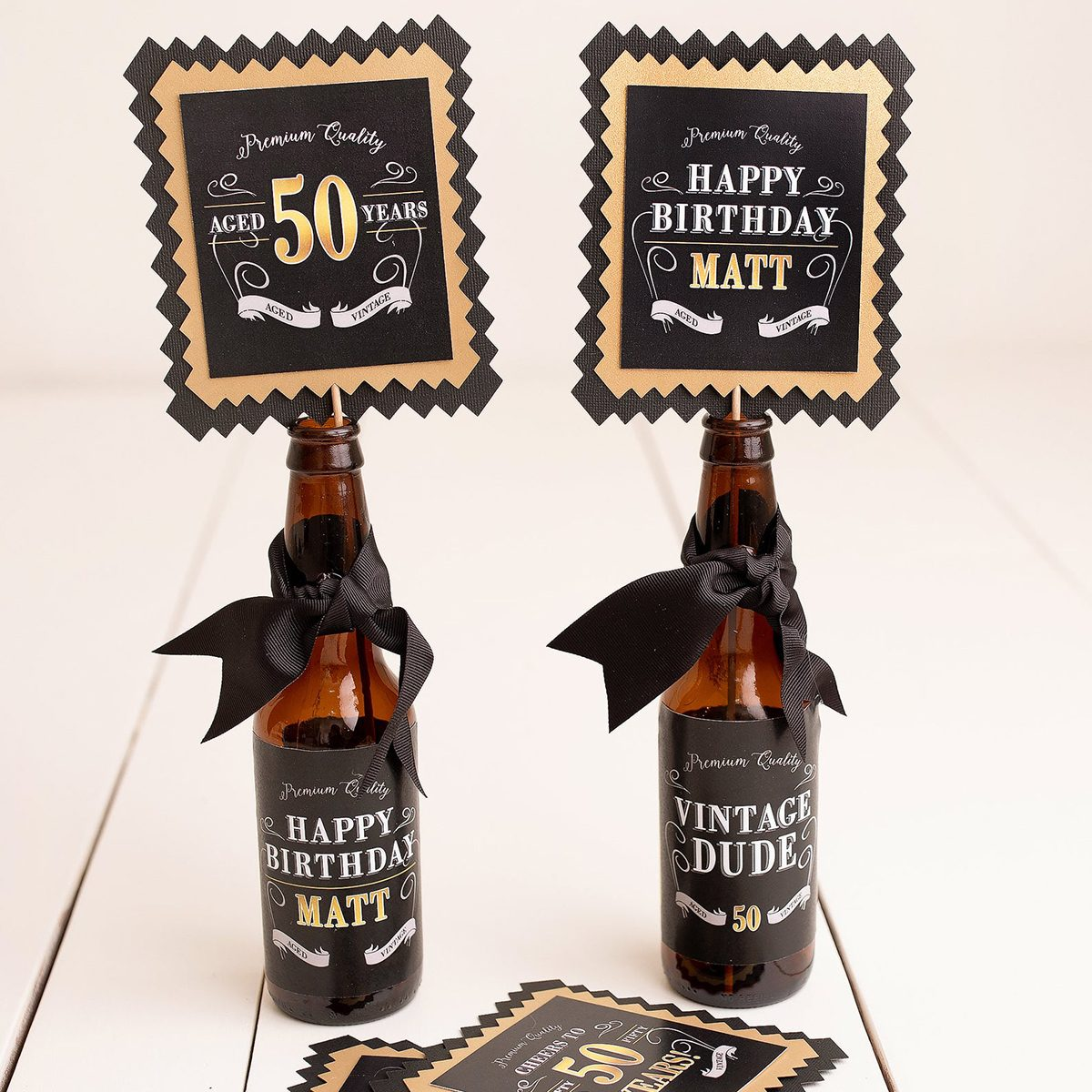 50th Birthday Centerpiece, Beer Labels, Milestone Birthday Decorations, Vintage Dude, Adult Birthday Party Decor, Aged To Perfection