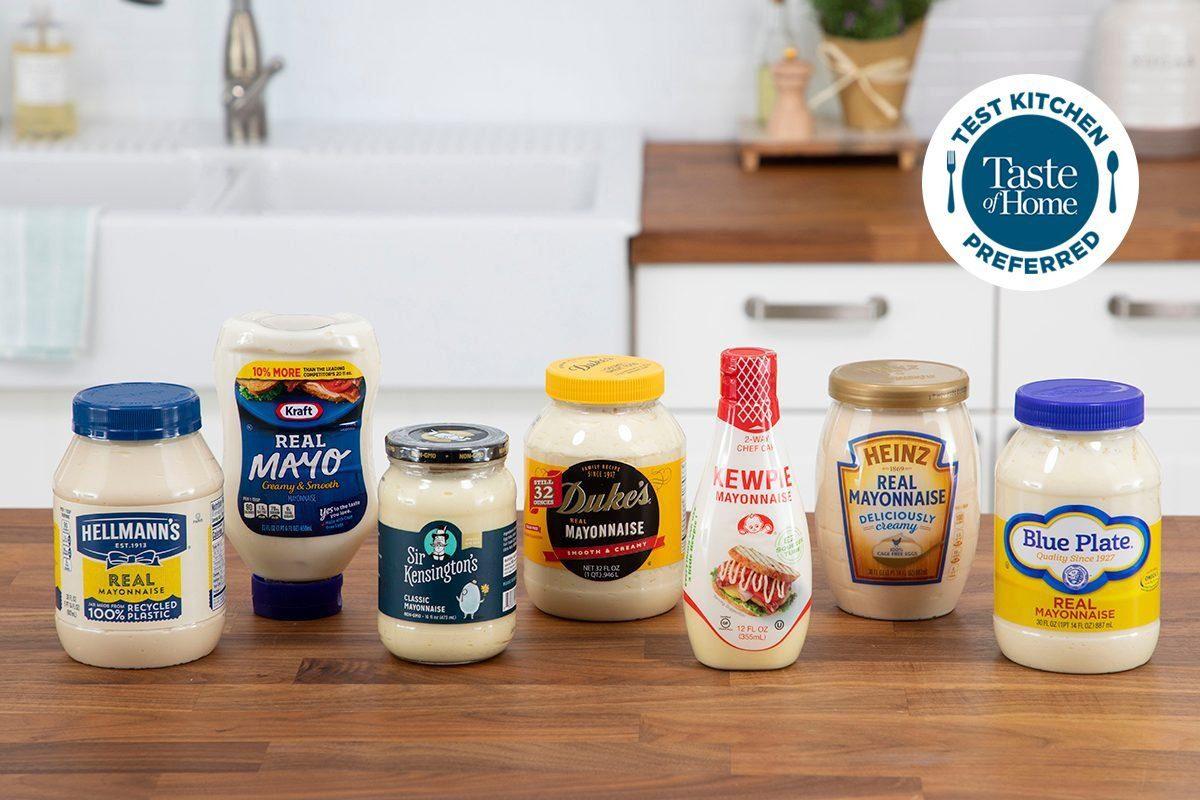 Mayonnaise taste test packaging shot in media kitchen; Test Kitchen Preferred; TKP WITH LOGO crop