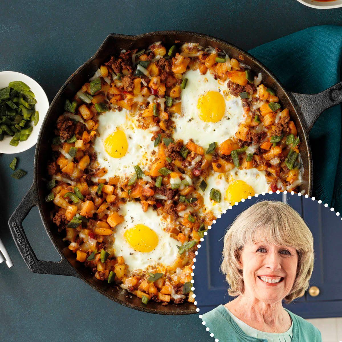 ROTY Joan Hallford Loaded Huevos Rancheros with Roasted Poblano Peppers