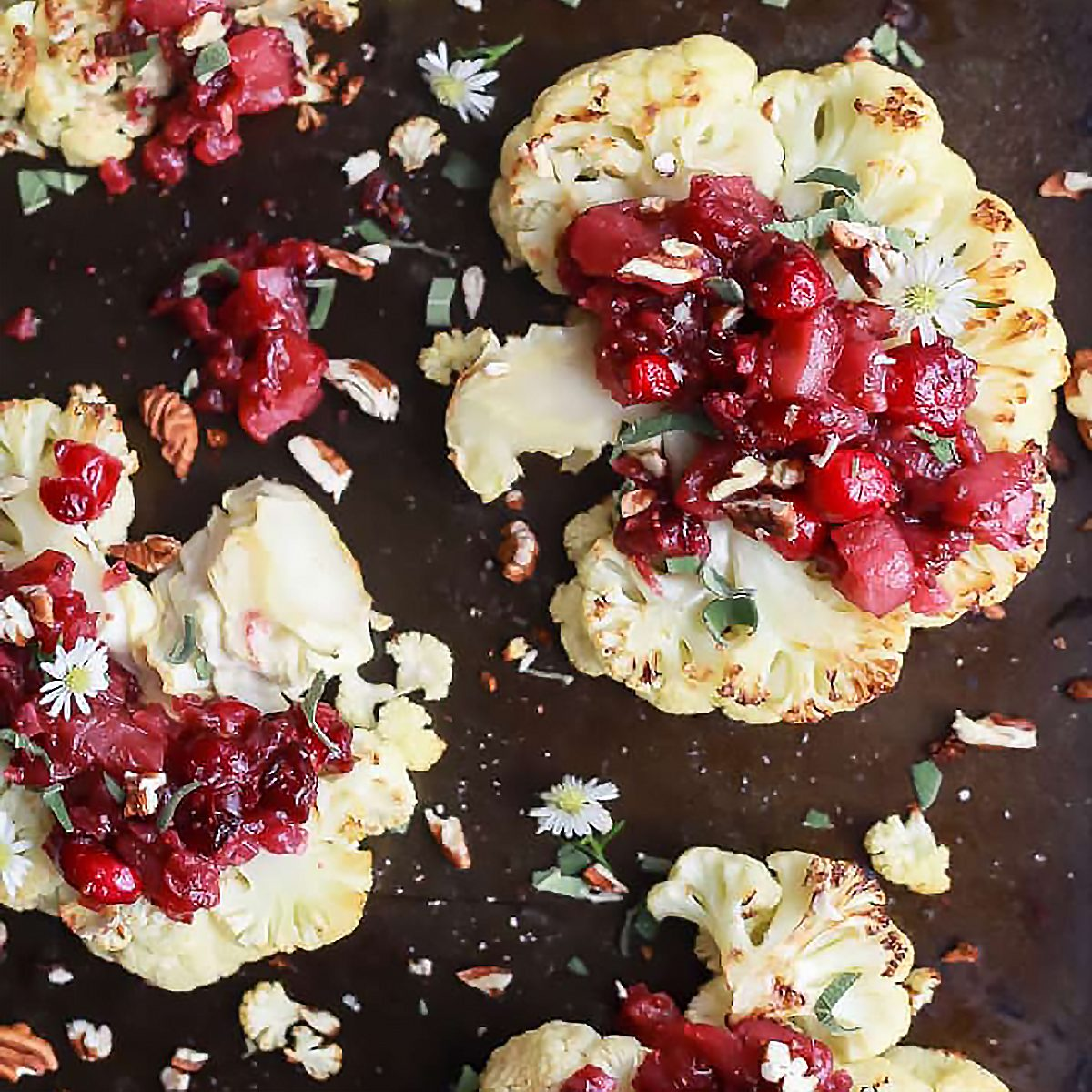 Roasted Cauliflower Steaks with Cranberry Apple Chutney for a Vegetarian Thanksgiving dish