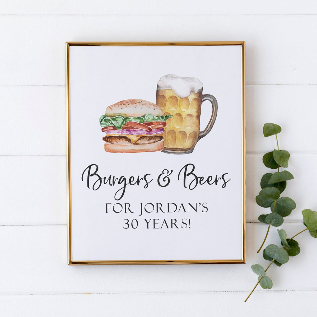BBQ Birthday Party Decorations - Burgers and Beers Birthday Party Sign - Beers for 30 Years - 30th Birthday Party Decorations - Printable