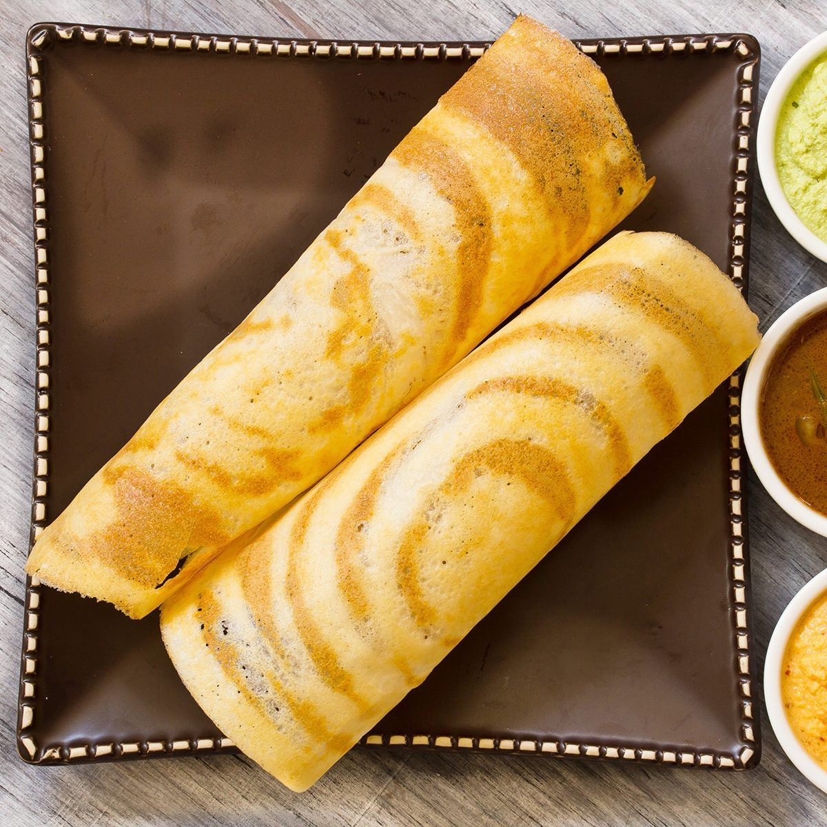 Masala Dosa with Sambar and chutney, south Indian breakfast