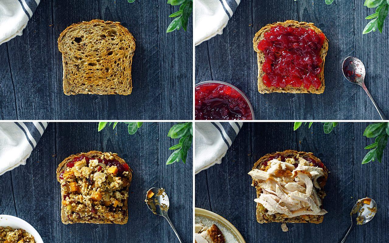 layers 1 through 4 of Ross Geller's Moist Maker sandwich from FRIENDS