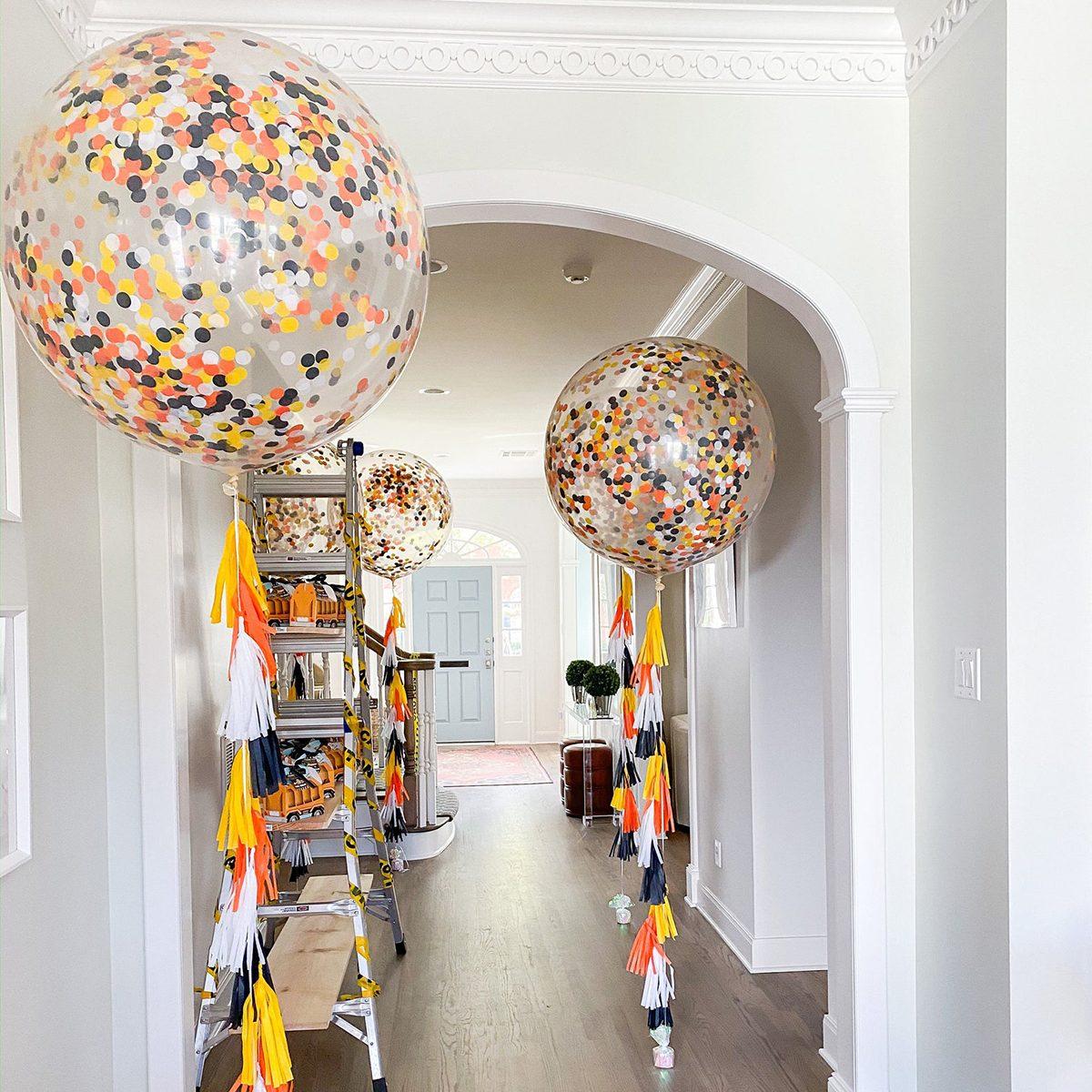 Construction Party Jumbo Confetti Balloon - Construction Balloons - Construction Party Decorations - Orange Yellow Black White Balloon