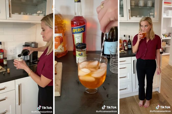 Reese Witherspoon's Fizzy Apple Cider recipe on TikTok