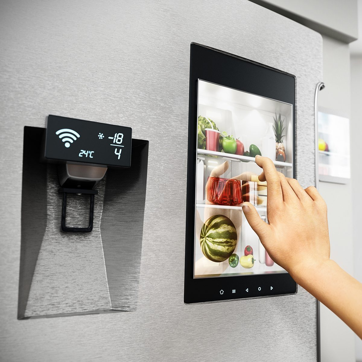SMART KITCHENS ​ GET SMARTER​ Food Trends Report, Hand controls smart refrigerator interface with an image of the interior.